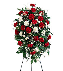 Crimson & White Standing Spray from Parkway Florist in Pittsburg PA