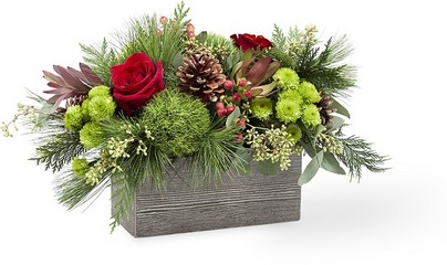 The FTD Christmas Cabin Bouquet from Parkway Florist in Pittsburgh PA