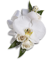 White Orchid and Rose Corsage from Parkway Florist in Pittsburgh PA
