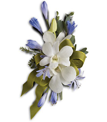 Blue and White Elegance Corsage from Parkway Florist in Pittsburgh PA