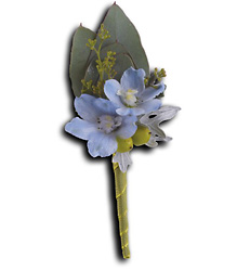 Hero's Blue Boutonniere from Parkway Florist in Pittsburg PA