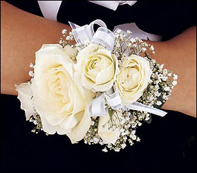 White Ice Roses Wristlet from Parkway Florist in Pittsburg PA