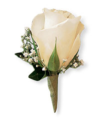 White Ice Rose Boutonniere from Parkway Florist in Pittsburgh PA